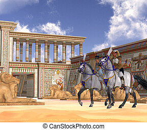 Egyptian Nobility on Horseback - The Pharaoh and queen of...