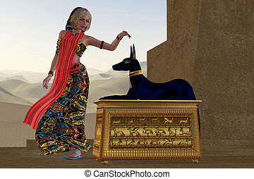 Egyptian Woman and Anubis Statue - An Egyptian queen reaches...
