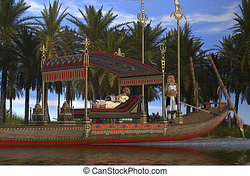 Egyptian Woman and Boat - An Egytpian king and queen wait...
