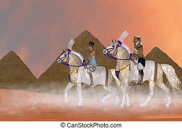 Great Pyramids and Nobility - Arabian horses carry the...