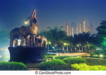 Elephants statue at park in night - taken at Citraland Park,...