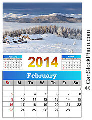 2014 Calendar. February. Beautiful winter landscape in the...