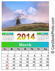 2014 Calendar. March. Beautiful spring landscape in the...
