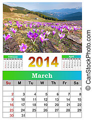 2014 Calendar. March. Blooming crocuses in the mountains