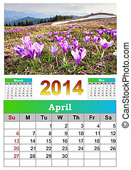 2014 Calendar. April.  Blooming crocuses in the mountains