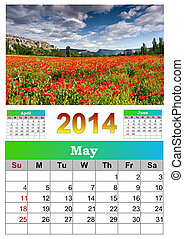 2014 Calendar. May. Beautiful summer landscape with field of...