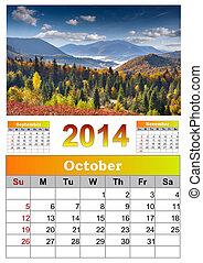 2014 Calendar. October. Beautiful autumn landscape in the...