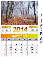 2014 Calendar. November. Beautiful autumn landscape in the...