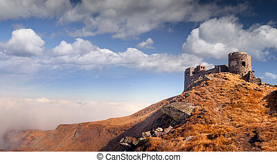 The old observatory on Mount Pip Ivan in Carpathians....