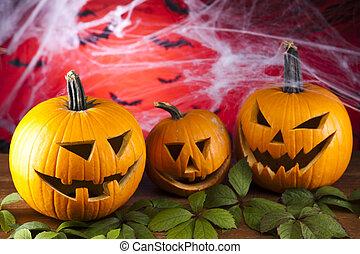Halloween pumpkin Jack,spider web