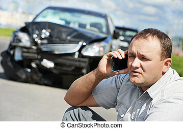 upset driver man after car crash - Adult upset driver man...
