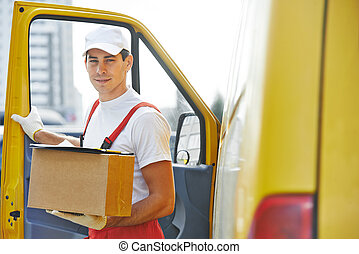 Delivery man with box - delivery courier man in front of...