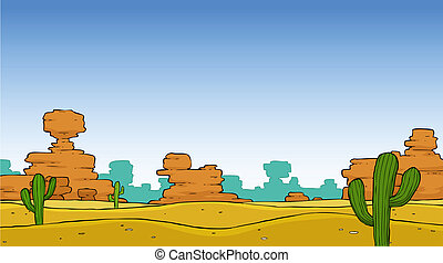 Desert - A cartoon desert landscape illustration vector