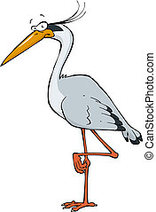 Cartoon heron - Heron on a white background vector...