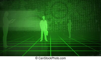 Green business background - Computer animation of a grid...