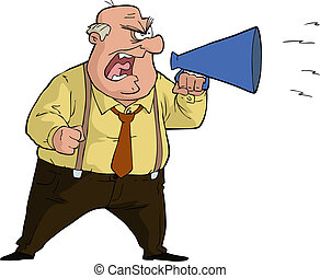 Boss with megaphone - The boss yells into a megaphone vector...