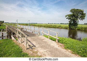 Wooden bridge in Dutch National Park Weerribben