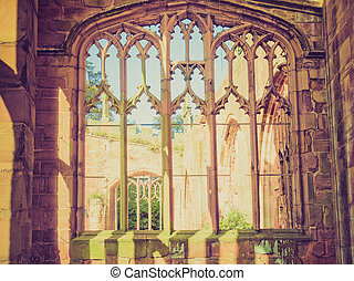 Retro look Coventry Cathedral ruins - Vintage looking Ruins...