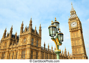 Big Ben clocktower and a street lamp view - Big Ben...