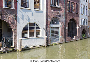 Historic canal houses in medieval city Utrecht of the Netherlands
