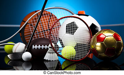 Sport equipment and balls - Sports balls, a lot of balls and...