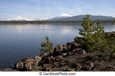 Cascade Mountain Range Rises Above Alpine Lake Oregon State...