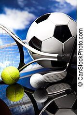Assorted sports equipment - Sports balls, a lot of balls and...