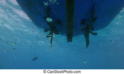 Propeller from the bottom of the ship under water