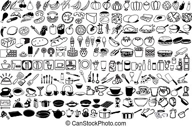 Vector icons of food - Food and kitchen icons vector