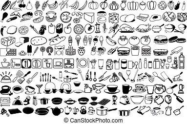 vecteur, icônes, nourriture