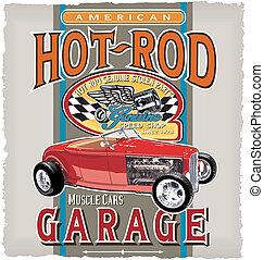classic speed garage - hot rod vintage car vector for...