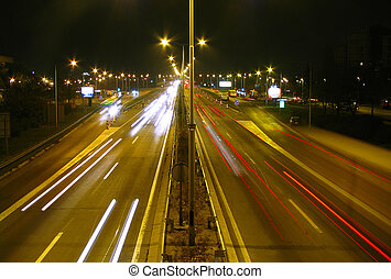 Highway at night 2 - Traffic on busy highway at night