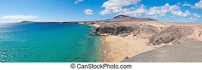 Papagayo Beach in Lanzarote - Panoramana of Papagayo Beach...