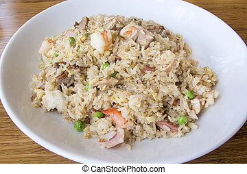 Yeung Chow Fried Rice with Barbecued Pork Prawns Green Peas...