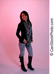 Lovely woman with pink background