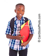 African American school boy, holding folders - Black people...