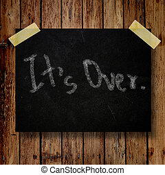 It's over on message note with wooden background
