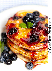Pancakes with blueberries - Homemade blueberry pancakes with...