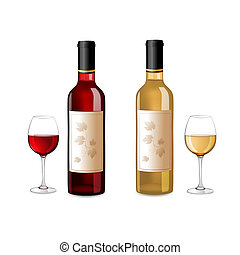 Glasses and bottles of wine - Red and white wine bottles and...
