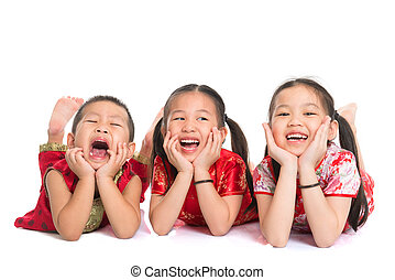 Asian children lying on floor - Group of happy young Asian...