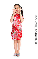 China girl shouting Happy Chinese New - Full length China...