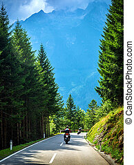 Bikers on the road in Alps, European tour, active lifestyle,...