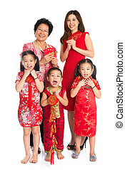 Asian Chinese family celebrate Chinese New Year - Group of...