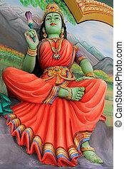 Lakshmi with a lotus in her hand - Lakshmi (Hindu Goddess of...