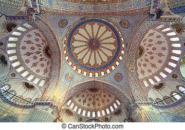 wnętrze, islamski, Błękitny, Meczet, Istambuł, indyk