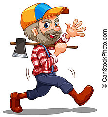 A lumberjack - Illustration of a lumberjack on a white...