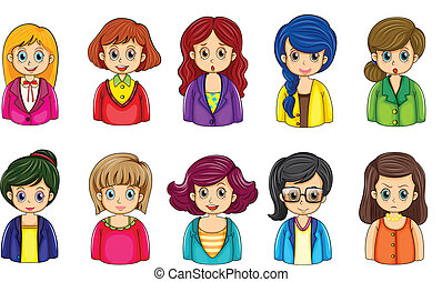 Different faces of the businesswomen - Illustration of the...