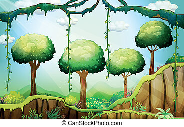 Trees in the forest under the rays of the sun - Illustration...
