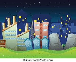 Factories near the neighborhood - Illustration of the...
