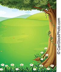 A view of the hills with a tree and flowers - Illustration...